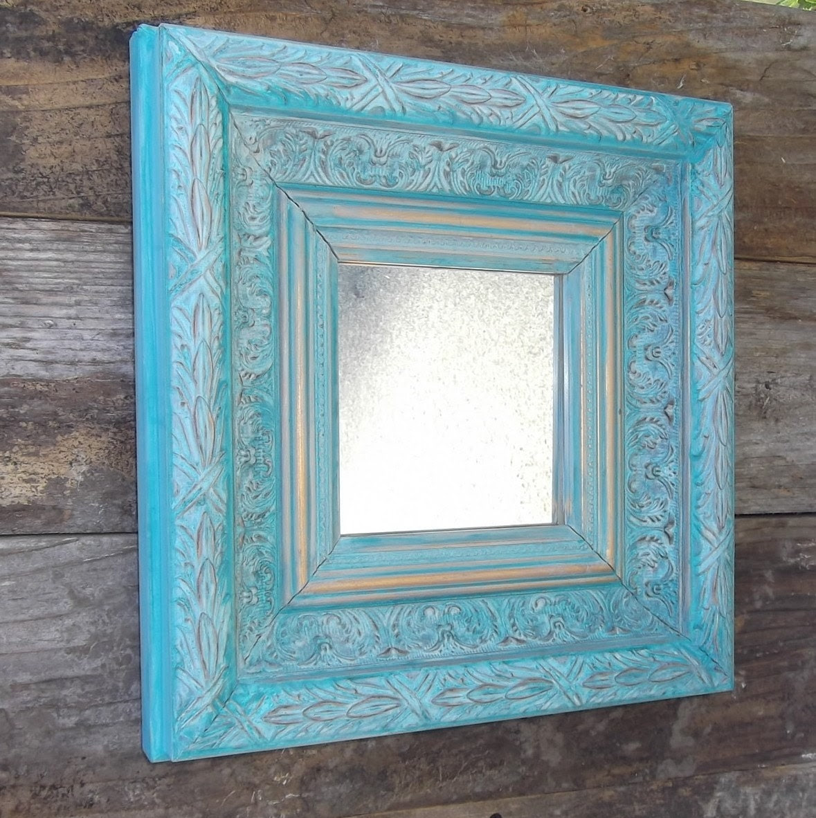 Teal and gold chunky framed mirror ornate home by tawnystreasures