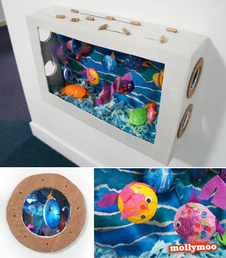 Mollymoocrafts Diy Cardboard Aquarium Craft Mollymoocrafts