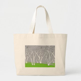 White Trees Design on Jumbo Tote Bag