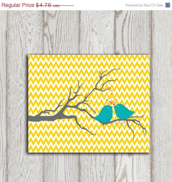 Nursery print Yellow Chevron printable Turquoise love birds Grey Tree Valentine Poster Little girl bedroom art prints Baby girl decor prints - DorindaArt