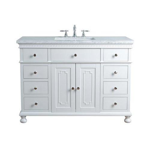 Stufurhome 48 Inch Abigail Single Sink Vanity Marble Carrara White