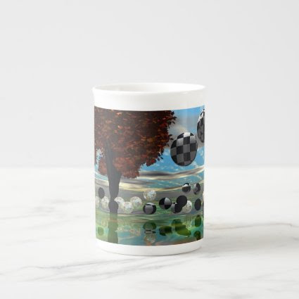 Crystal Garden, Abstract Green Gold Light Bone China Mug