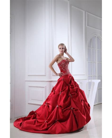 Red Strapless Embroidery Pickups Color Wedding Dress #