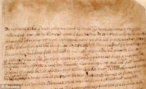 A love letter written by Henry VIII to Anne Boleyn