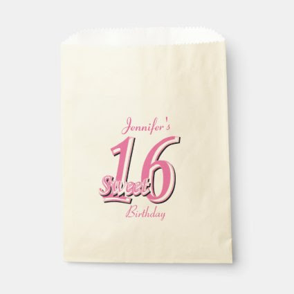 Sweet Sixteen Birthday | Pink Favor Bags