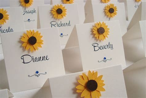 Sunflower Wedding Place Cards   Wedding ideas   Sunflower