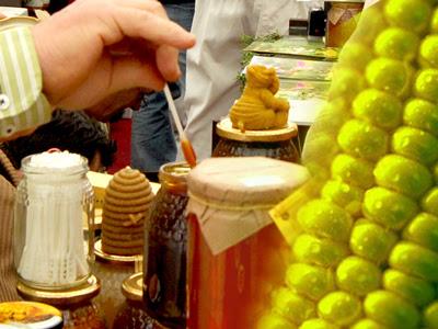 Exposición de productos de las abejas