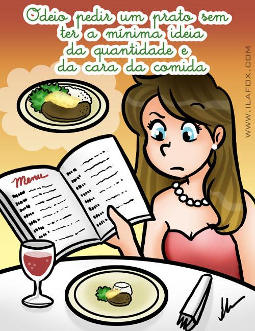 Odeio pedir um prato sem ter a mínima ideia da quantidade e da cara da comida, ilustração by ila fox