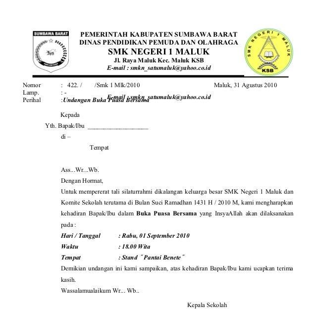 Contoh Surat Undangan Resmi Buka Bersama Contoh Surat