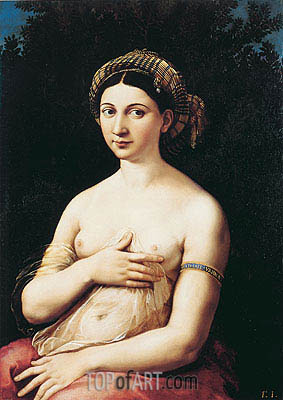 Portrait of a Young Woman (La Fornarina), c.1518/19 | Raphael| Painting Reproduction