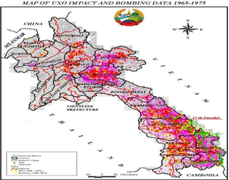 Mapa bombardování Laosu, 1971-1973