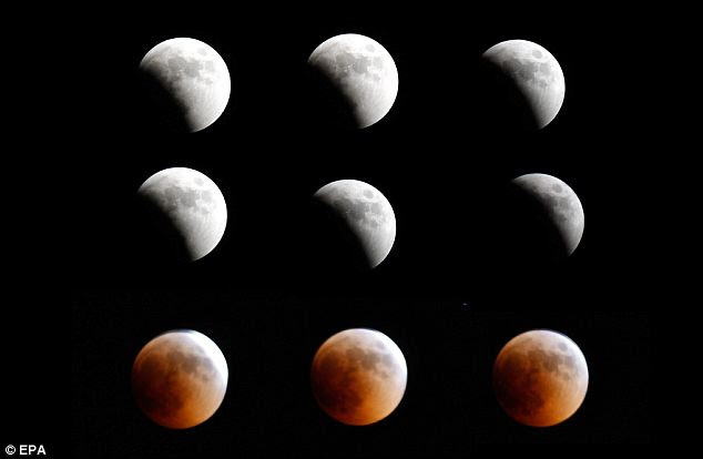 A composite picture showing the total lunar eclipse in the east of Beirut, Lebanon yesterday. People in the eastern half of Africa, the Middle East, central Asia and western Australia were able to enjoy the entire event