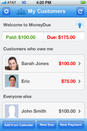 MoneyDue shows how much you've been paid and who still owes you.