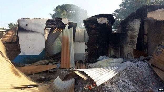 A house destroyed in Mpeketoni, Kenya, during an attack on  16 June 2014