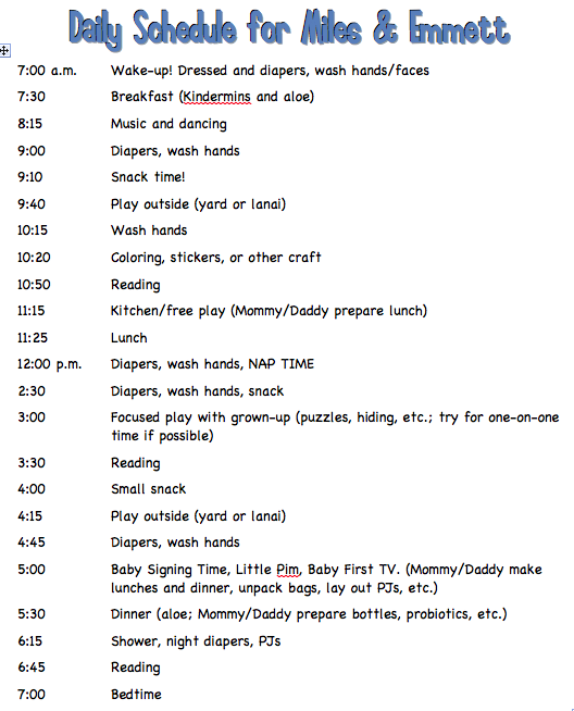 Daily Schedule for 22-Month-Old Twins