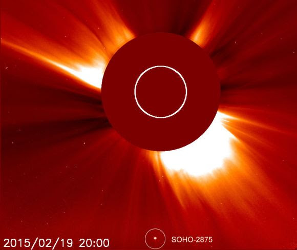 Photo taken at 20:00 UT (2 pm. CST) Feb. 19 with the SOHO C2 coronagraph, a device that blocks the Sun, allowing a view of the area close by. Credit: NASA/ESA