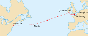 English: Map marks the route of RMS Titanic du...