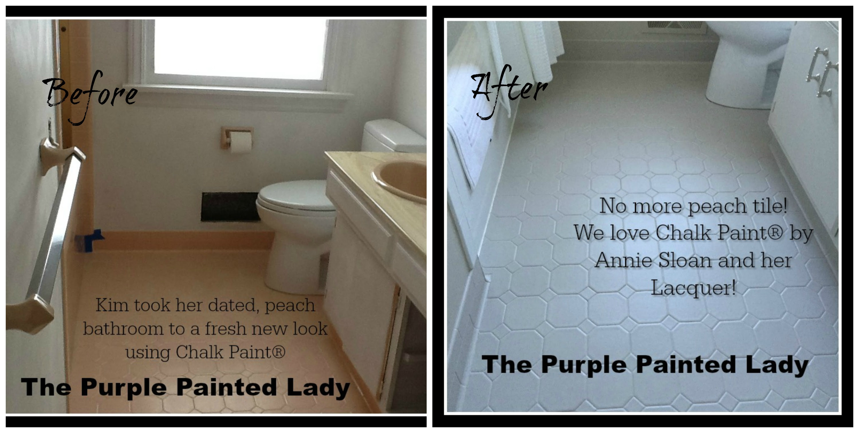 Painting Tile In The Bathroom With Chalk Paint The Purple Painted Lady