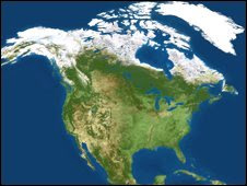 Current ice coverage in north America