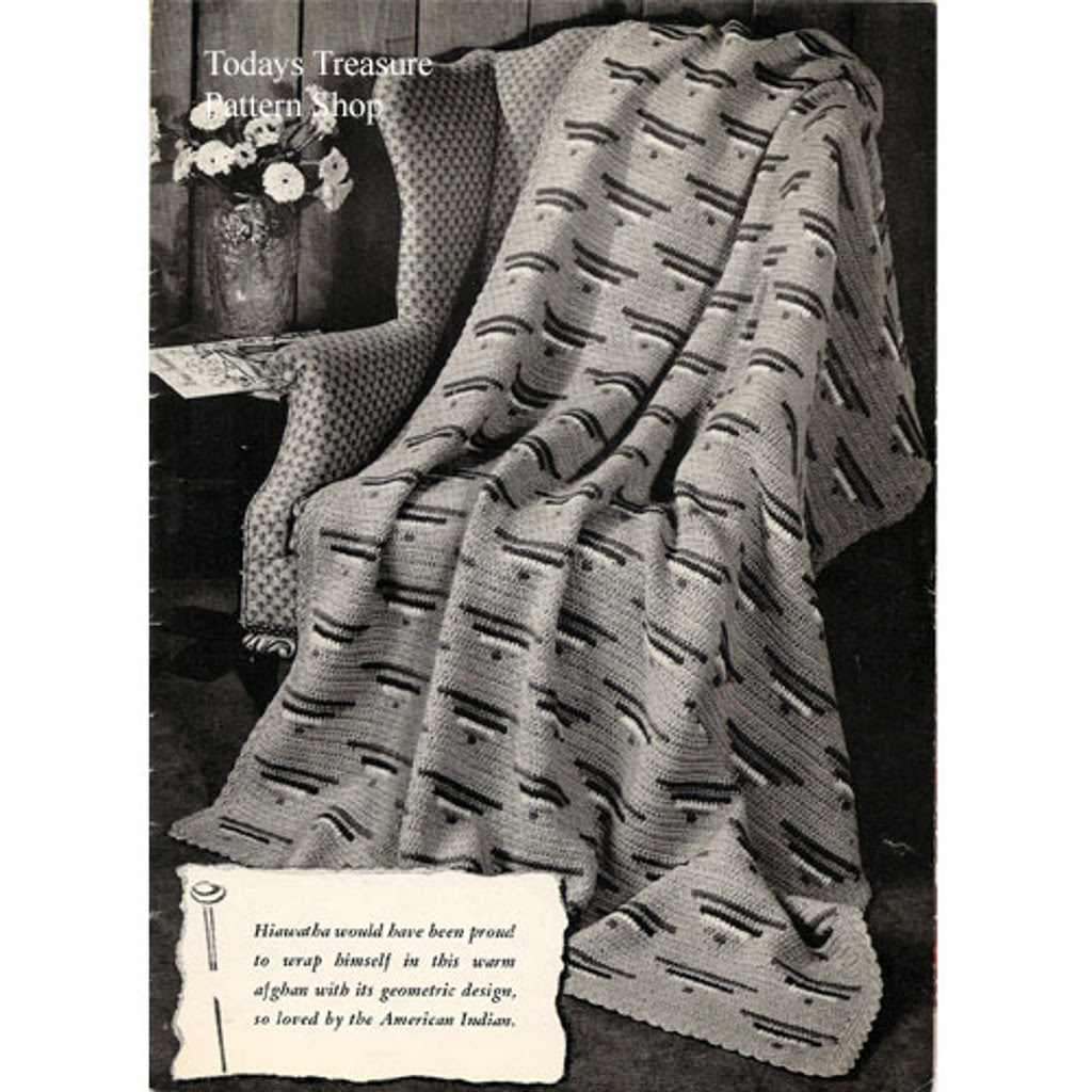 Crocheted Indian Blanket Pattern, Vintage 1940s