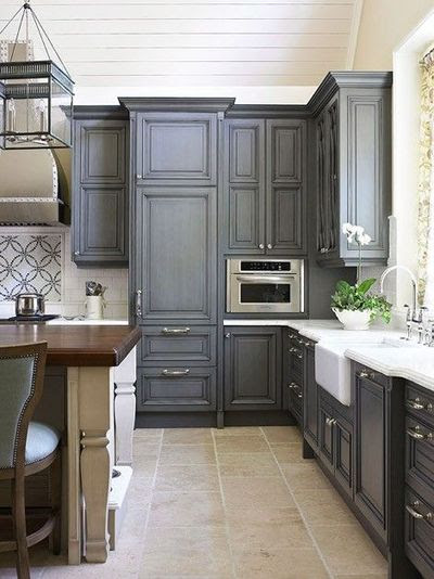 Dark Grey Kitchen Cabinets. I actually like this color. / For my ...