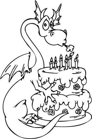 Disegno Di Drago Con Torta Di Compleanno Da Colorare Disegni Da