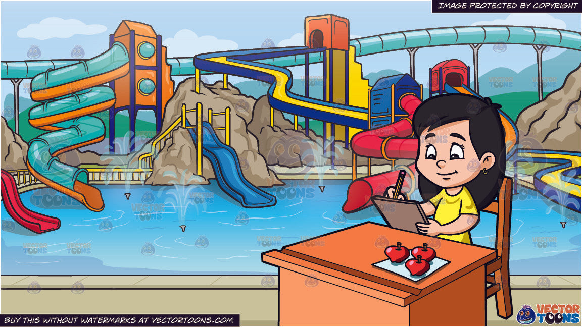 A Girl Trying To Sketch Some Apples On Paper And A Cool Water Park Bac Clipart Cartoons By Vectortoons