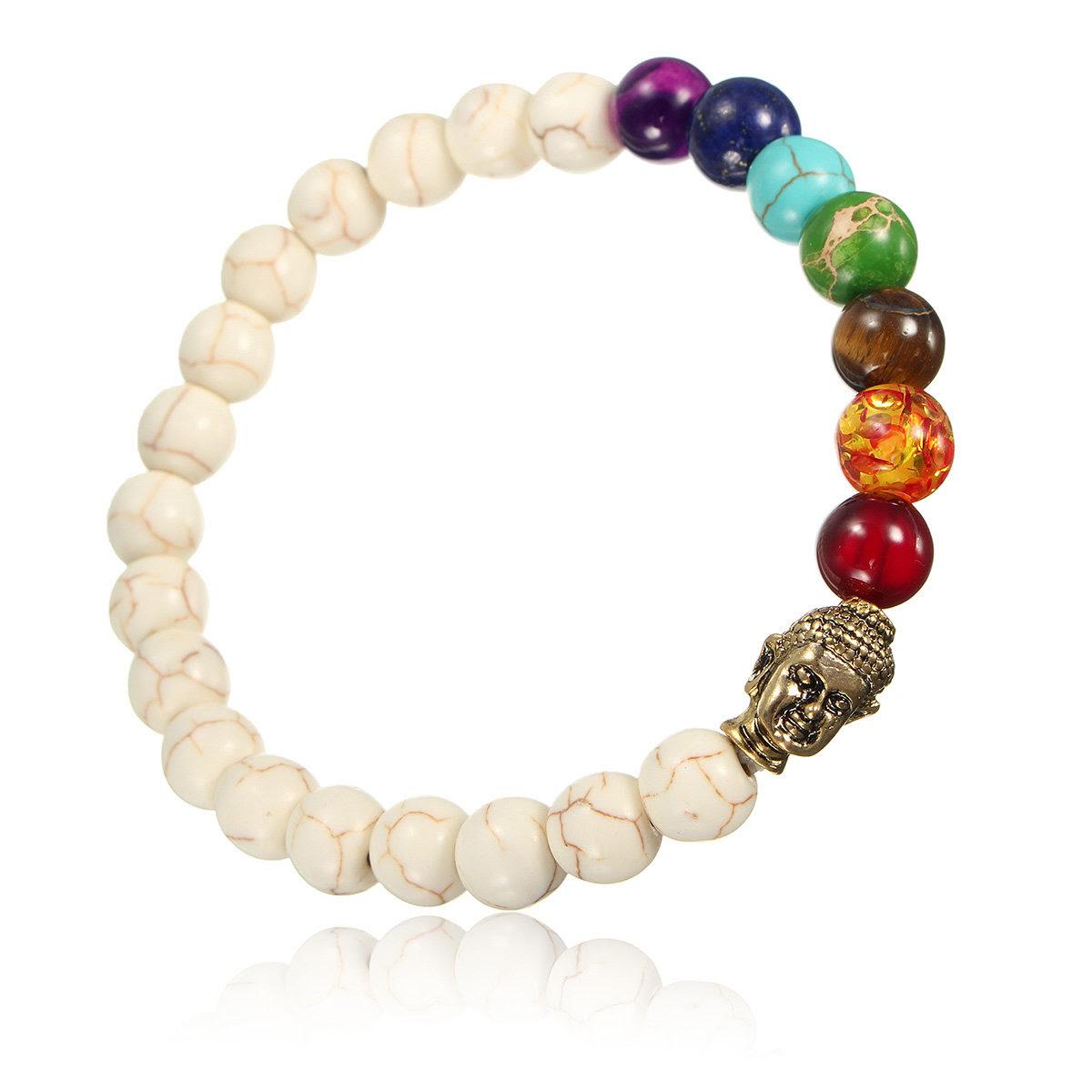 8mm White Turquoise Beads Buddha Bracelet