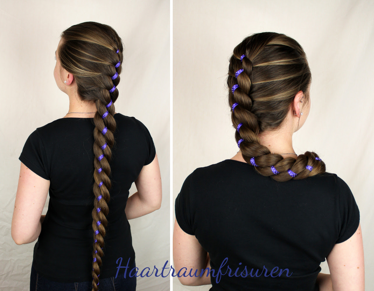 Purple And Dots Braid With Ribbon Haartraumfrisuren