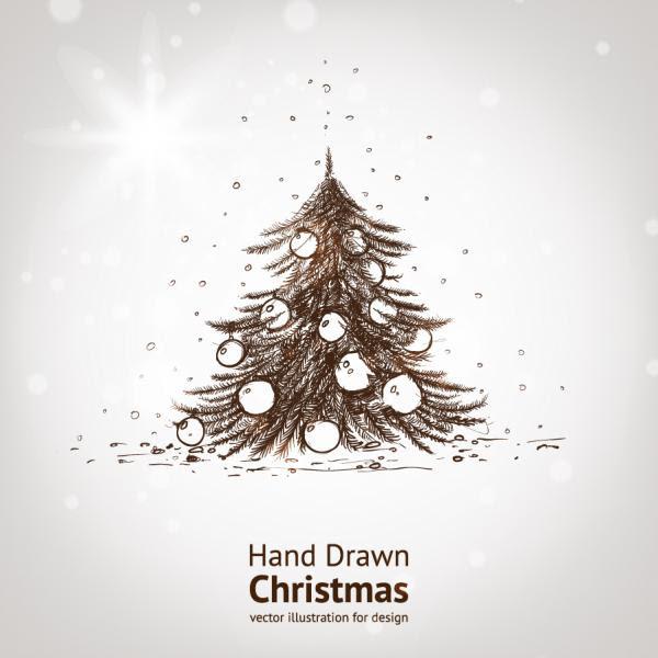 手書きのツリーと輝くクリスマス素材の背景 Bright Christmas