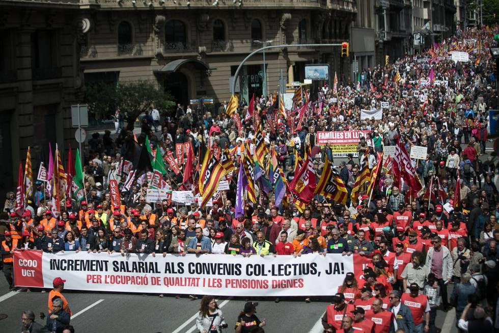 Manifestacion sindical en Barcelona del 1 de mayo.