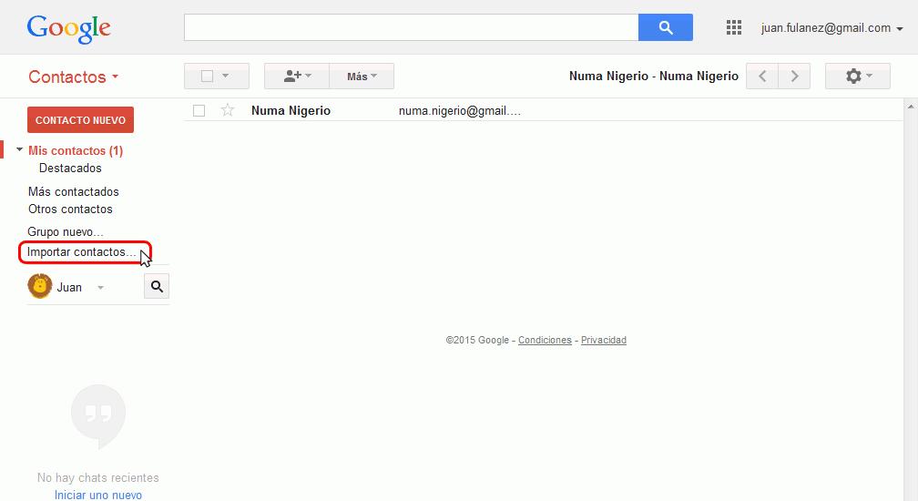 Gmail. Importar contactos