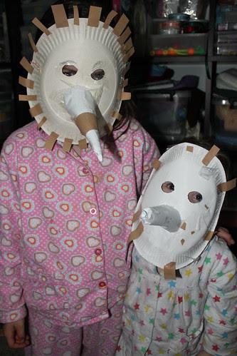 Totally kid made echidna masks
