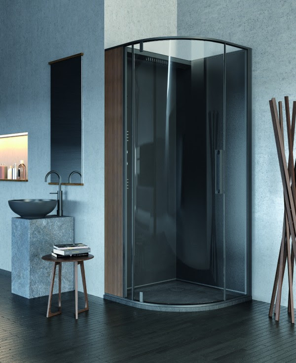 Danelon Meroni organinc wood and stone elemental shower room