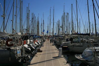 Yachts moored in Cannes harbour