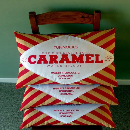 Tunnock's Caramel Wafer Screen-Printed Cushion