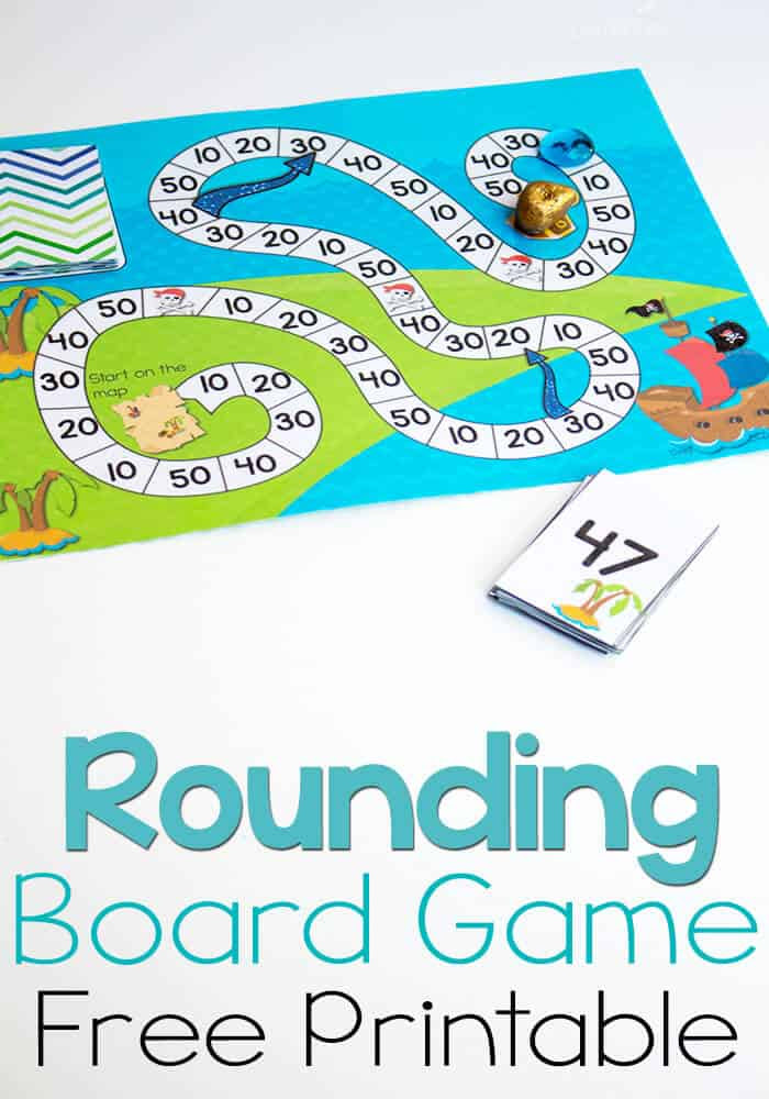 Free Printable Pirate Board Game: Rounding to Tens