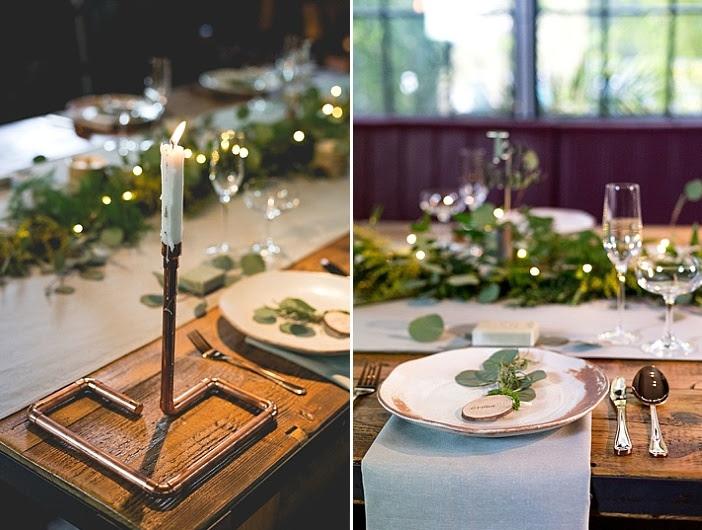 Industrie-Kerze-Halter und Holz-Scheiben gab einen charmanten touch, um die tablescape