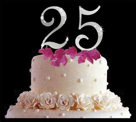 25th wedding anniversay cake toppers   25th Anniversary