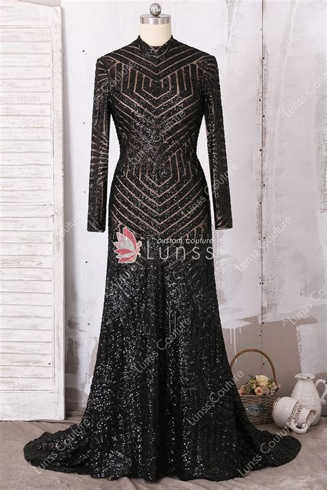 Geometric Pattern Black Sequin Long Sleeve High neck Fit