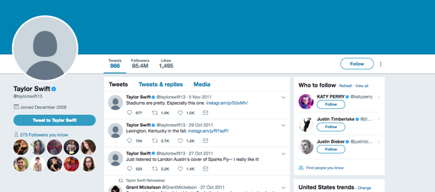 "So, today, on this holy three-year anniversary of Taylor Swift's ""Shake It Off,"" something CRAZY is happening — Swift appears to be turning all of her social media platforms into BLANK SPACES. This is her Twitter right now:"