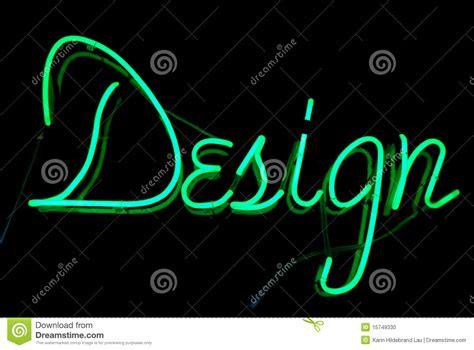 design neon sign stock photo image