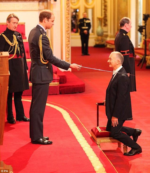 Arise Sir Baldrick: The Duke of Cambridge knighted Blackadder actor Sir Tony Robinson in London today