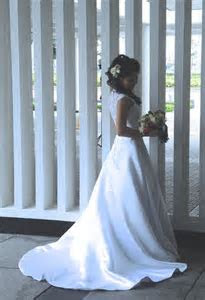 Ball Gown V neck Court Train Satin Lace Wedding Dress With