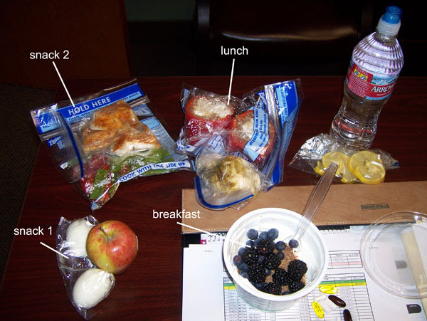 Chelle's cooler contents - healthy eating