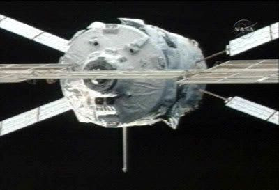 Europe's JULES VERNE Automated Transfer Vehicle comes within 36 feet of the International Space Station on March 31, 2008.