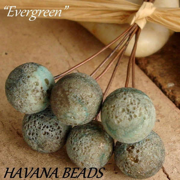 Sale Entire Store - EVERGREEN FOSSILIZED Round Headpins - Set of 6 Handmade Lampwork Head Pins - HavanaBeads