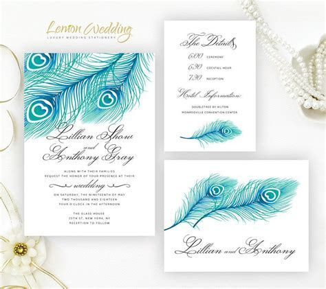 PRINTED   peacock wedding Invitation suites   Feather
