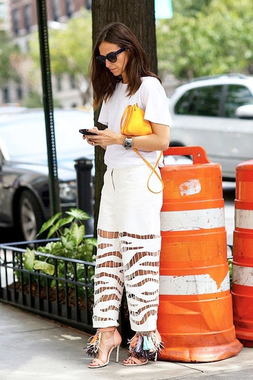Le Fashion Blog Blogger Street Style Trends Nyfw Sunglasses Tee Yellow Mini Bag White Alexander Wang Cut Out Jeans Fringed Tassel Sandals Via Popsugar