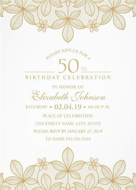 Golden Lace 50th Birthday Invitations   Elegant Luxury